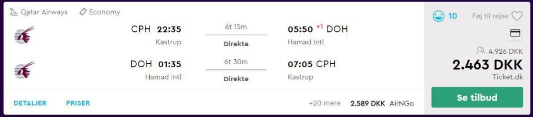 Flybilletter fra København til Doha
