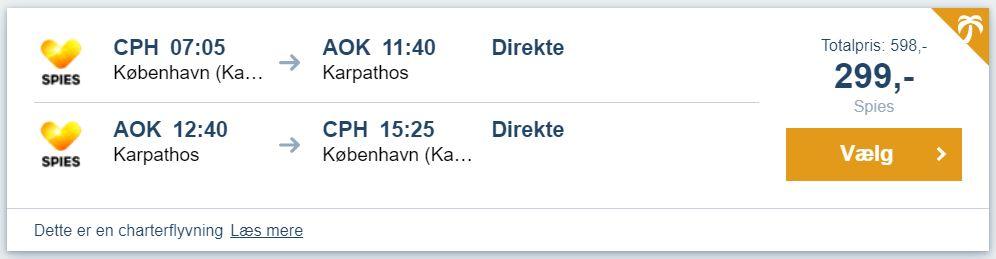 Flybilletter fra København til Karpathos