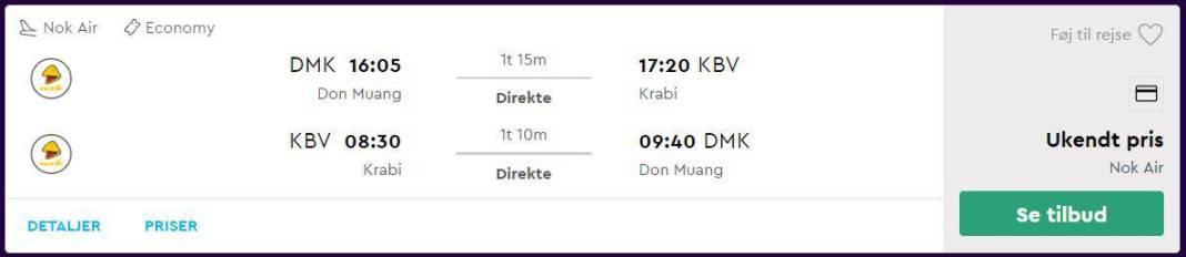 Flybilletter fra Bangkok til Krabi