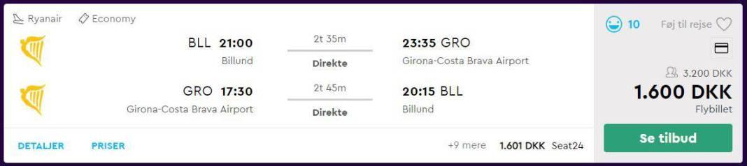 Flybilletter fra Billund til Girona