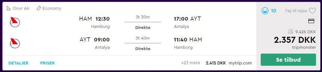Flybilletter fra Hamborg til Antalya i Tyrkiet
