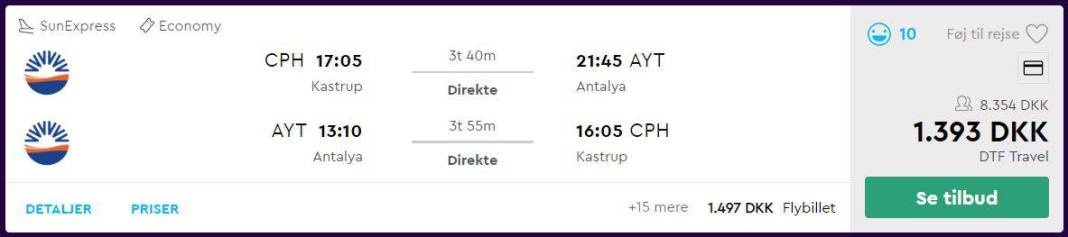 Flybilletter fra København til Antalya
