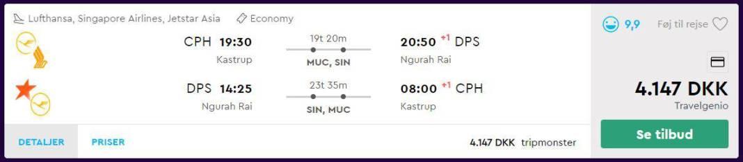 Flybilletter fra København til Bali