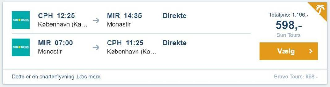 Flybilletter fra København til Monastir i Tunesien