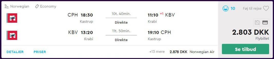 Fly fra København til Krabi i Thailand