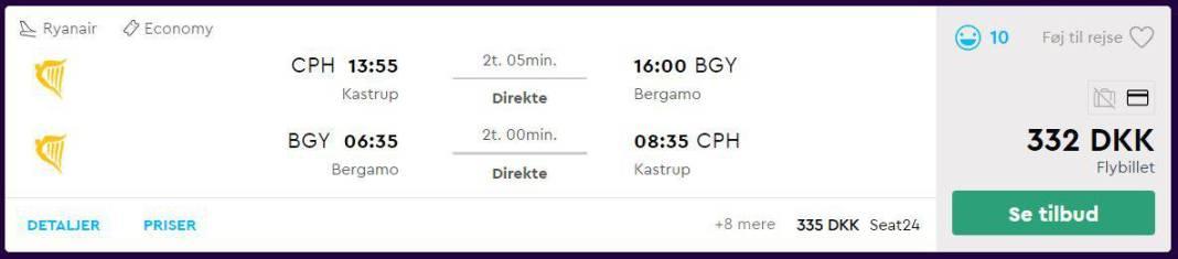Flybilletter til Milano
