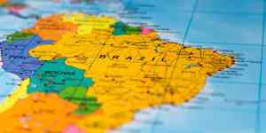 Kort over Sydamerika med fokus på Brasilien