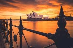 Australien - Sydney Harbour, operahus, solnedgang - rejser