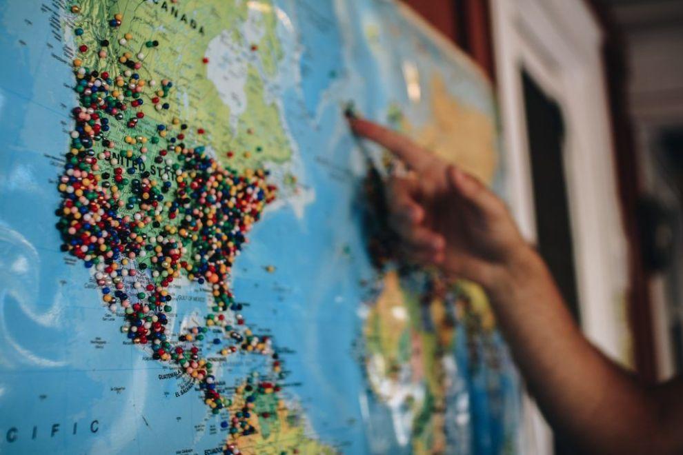 Mapa mundial - eua - viagens