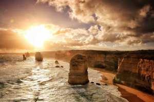 Australien - kyst, solnedgang - rejser