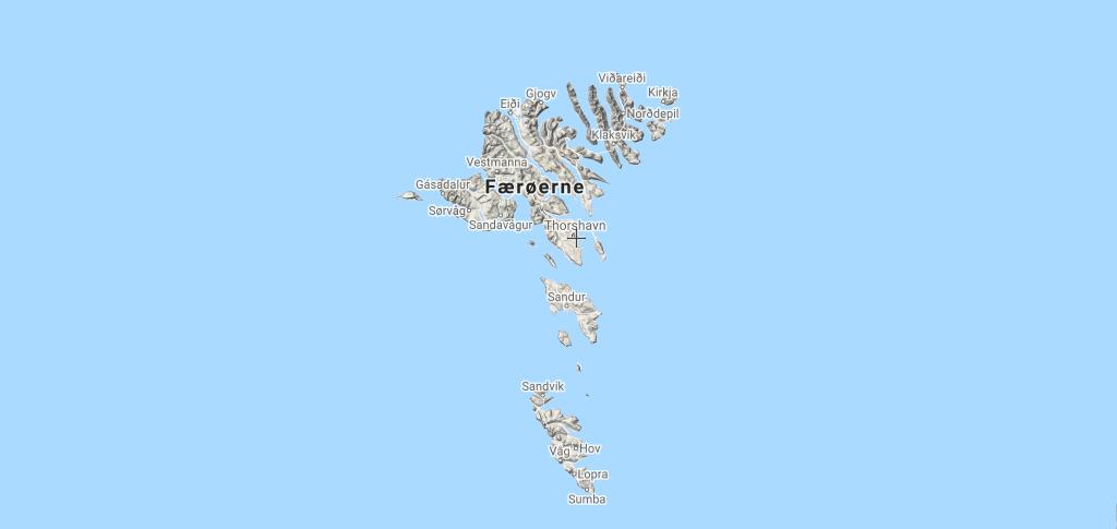 rejse til Færøerne - kort rejser - rejser - kort - færøerne kort - øer i nord kort