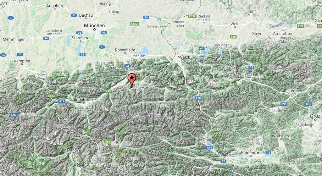 Østrig, Brixental, kort over østrig