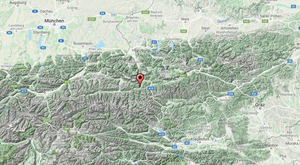 Austria, Salzburg, Mapa ng Austria, St Johann im Pongau, St Johann sa Salzburg