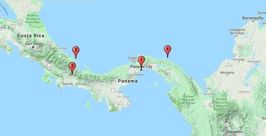 Panama kort San blas Bocas del Toro rejser