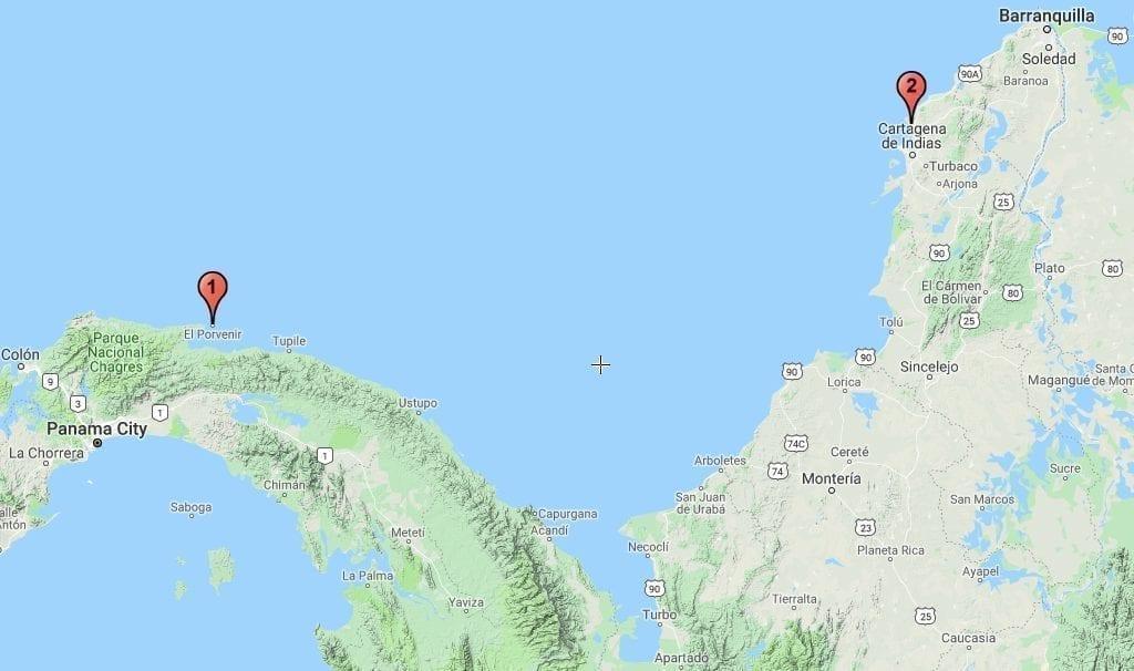 Panama Colombia San Blas Kort