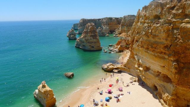 Portugal Algarve Beach Cliffs Travel