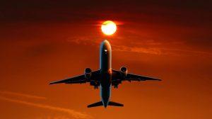 Fly, solnedgang, oransje - reise