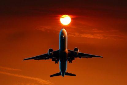 Plane, sunset, orange - travel