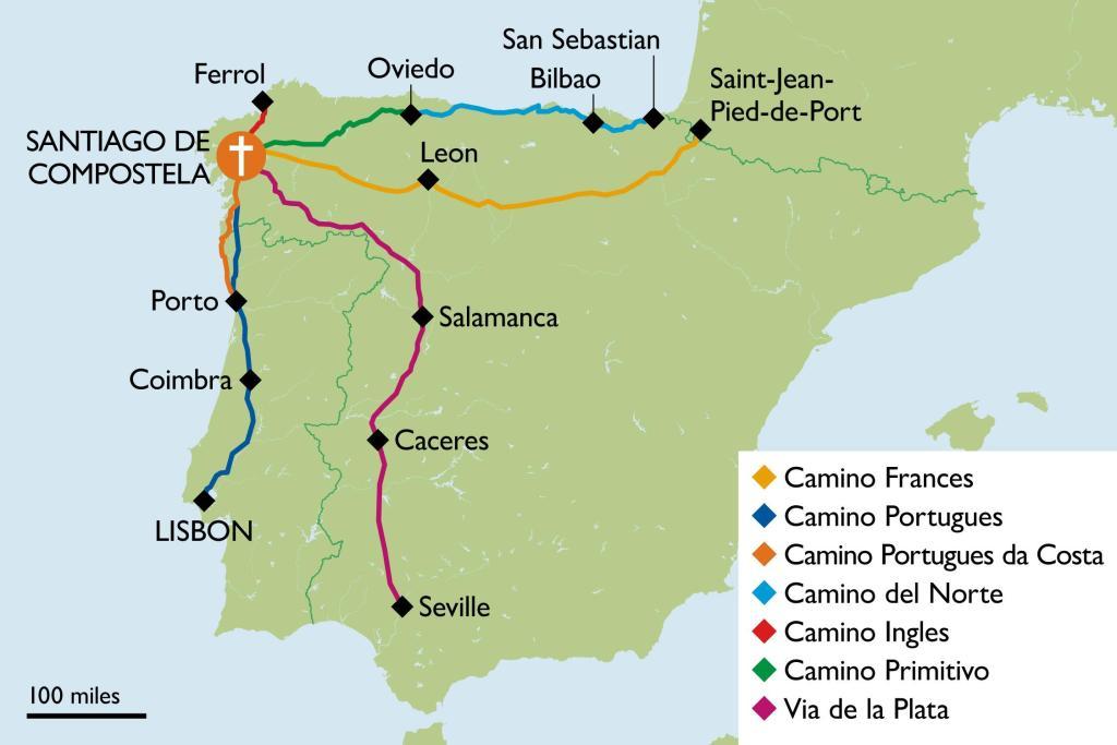 Camino, Spanien, Karte, Karte des Camino, Santiago de Compostela, Santiago de Compostela Karte, Reise