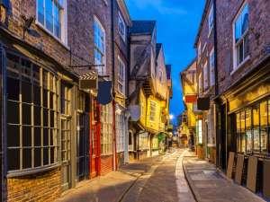York shambles alley coucher de soleil crépuscule, York Englsnd UK, voyage, angleterre, voyage panoramique