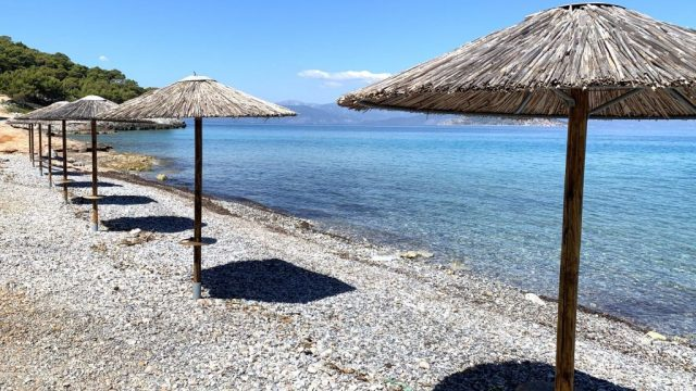 Grèce, Agistri, Plage, Parasol, Voyage