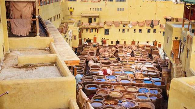 Chouwara Leather traditional tannery in ancient medina of Fes El Bali. Fez, Morocco, Morocco, Africa, panorama travel, travel