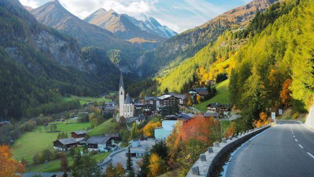 オーストリア、ザールバッハ、アルプス、教会、町、旅行