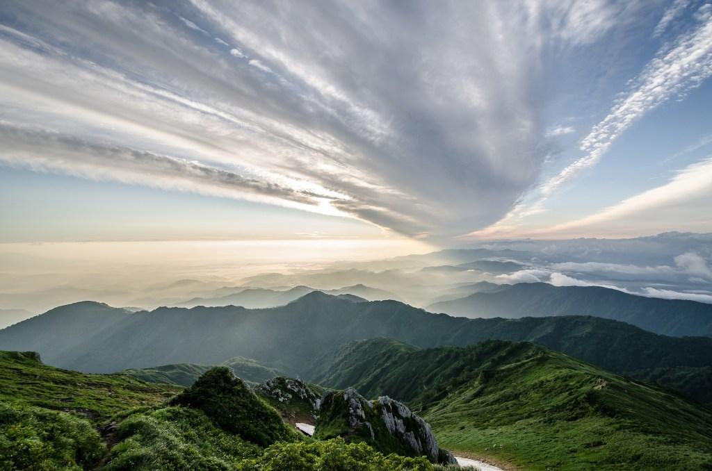 Japan, solnedgang, Fukushima, Tohoku, bjerge, natur, rejser, UNESCO naturarv
