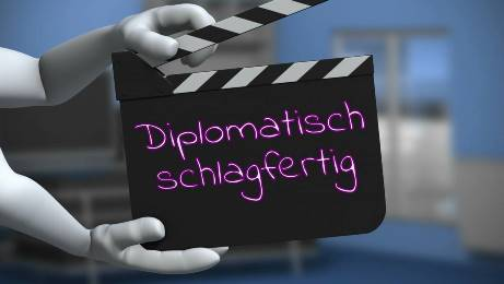 Ein Action-Button der auffordert aktiv diplomatisch schlagfertig zu sein