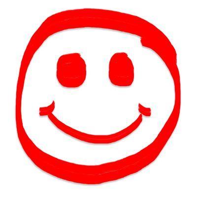 Der rote Smiley freudig leicht gelassen