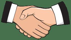 Hände schütteln als Symbol für eine einvernehmliche Gewinn-Formel