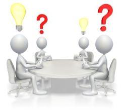 Strich-Männchen tauschen individuelle Fragen Ideen aus.