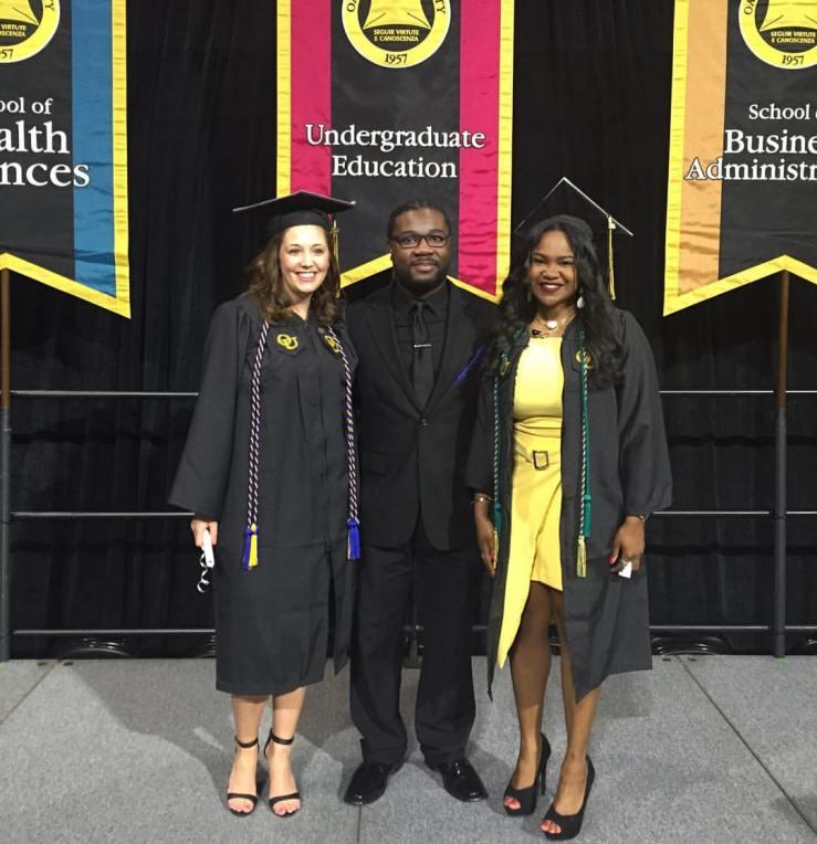 Professor Thompkins-Jones with graduating students Social Work Students Oakland University Social Work Pinning Ceremony 2016