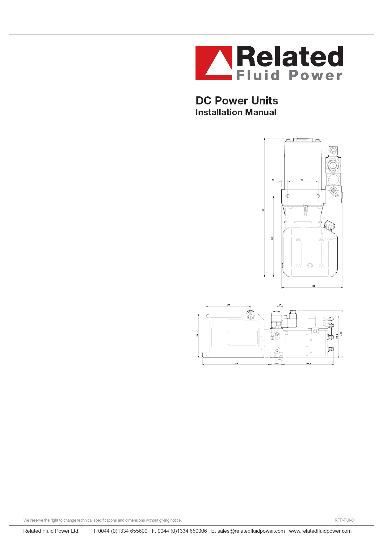 Dc Hydraulic Power Units Installation Amp Maintenance Manual