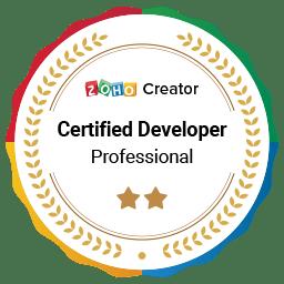Zoho Creator certified developer badge professional 256
