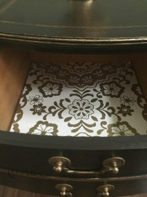 Paper drawer liner with gold design