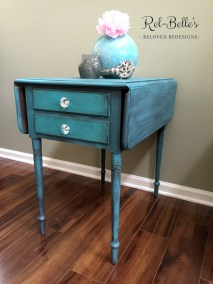 Turquoise Two Drawer Table