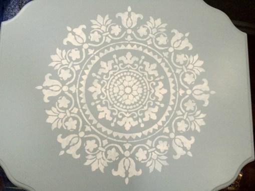 Blue mandala stencilled end table