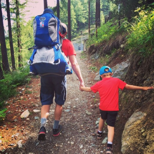 Dad and Malcolm on trail in Zermatt