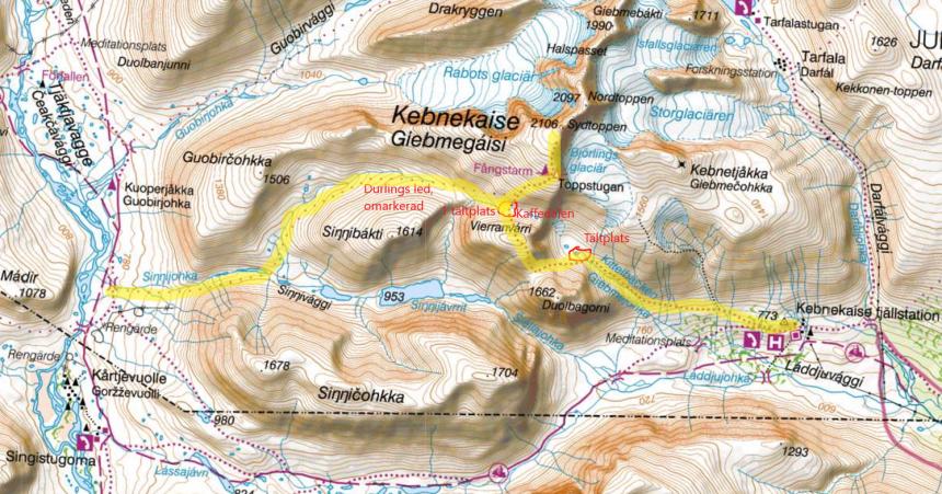 Västra leden och Durlings led, Kebnekaise