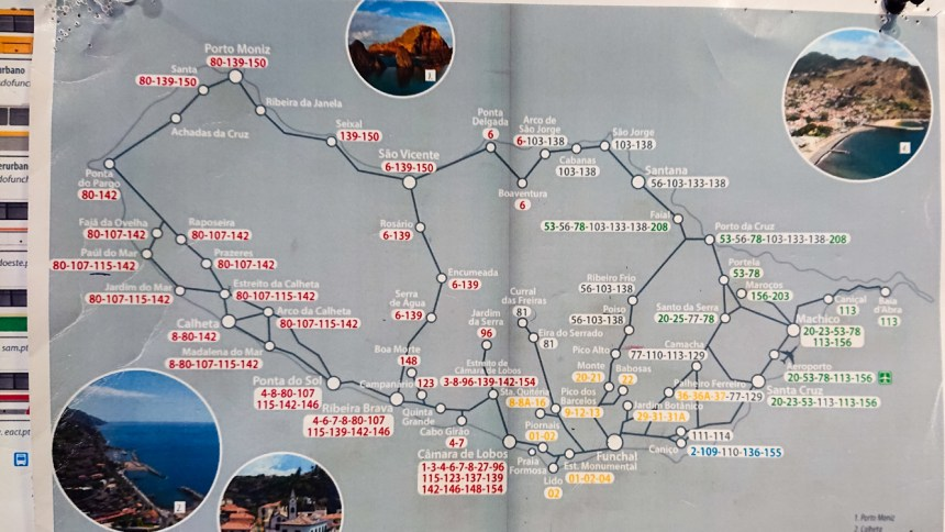Reldin Adventures - Bus map of Madeira
