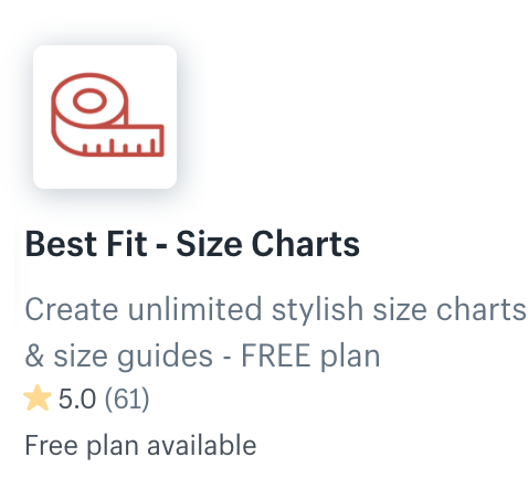 Best Fit - Size Chart Popups App