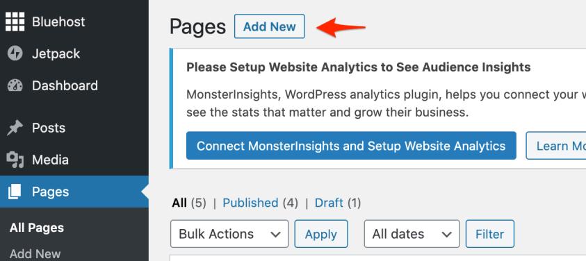 create a new page wordpress