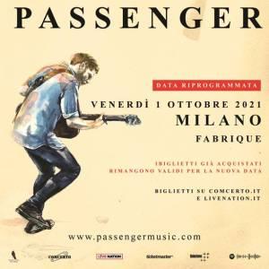 PASSENGER: il concerto di marzo posticipato a ottobre 2021