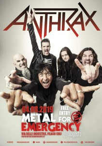 Anthrax: headliner del Metal for Emergency 2019!