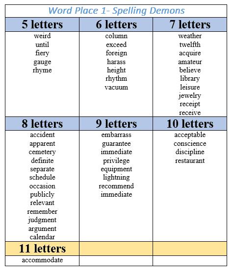 spelling demons relief teaching