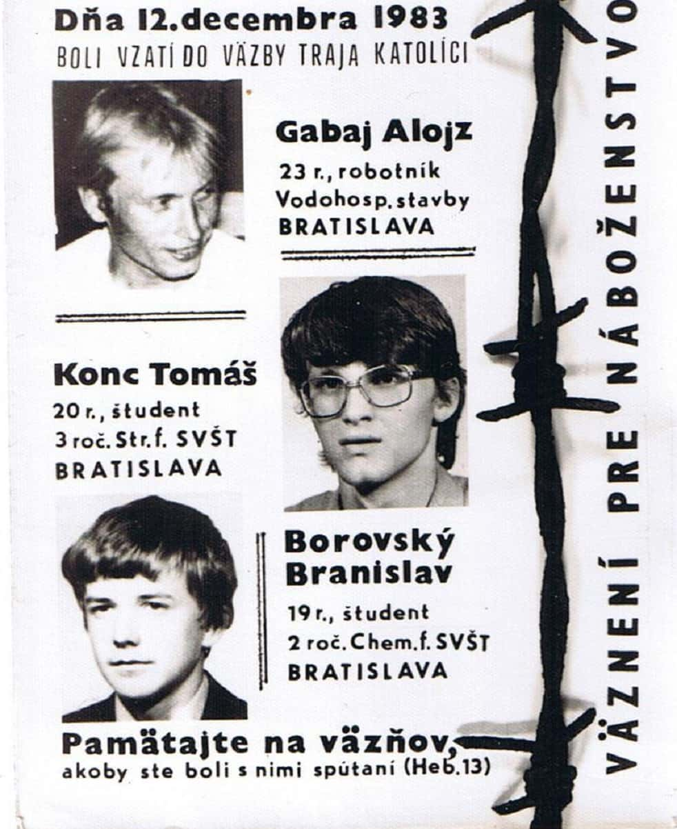 Cartel clandestino tras la encarcelación de Brano Borovsky