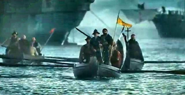 El alba de América, encabezada por la Cruz, en «Apocalypto» (2006) de Mel Gibson.