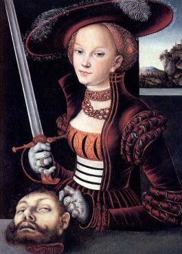 Judith sosteniendo la cabeza de Holofernes.