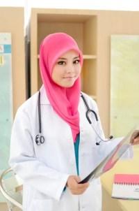 Hijab and labcoat